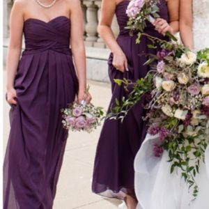 David's Bridal Strapless Chiffon Plum Dress
